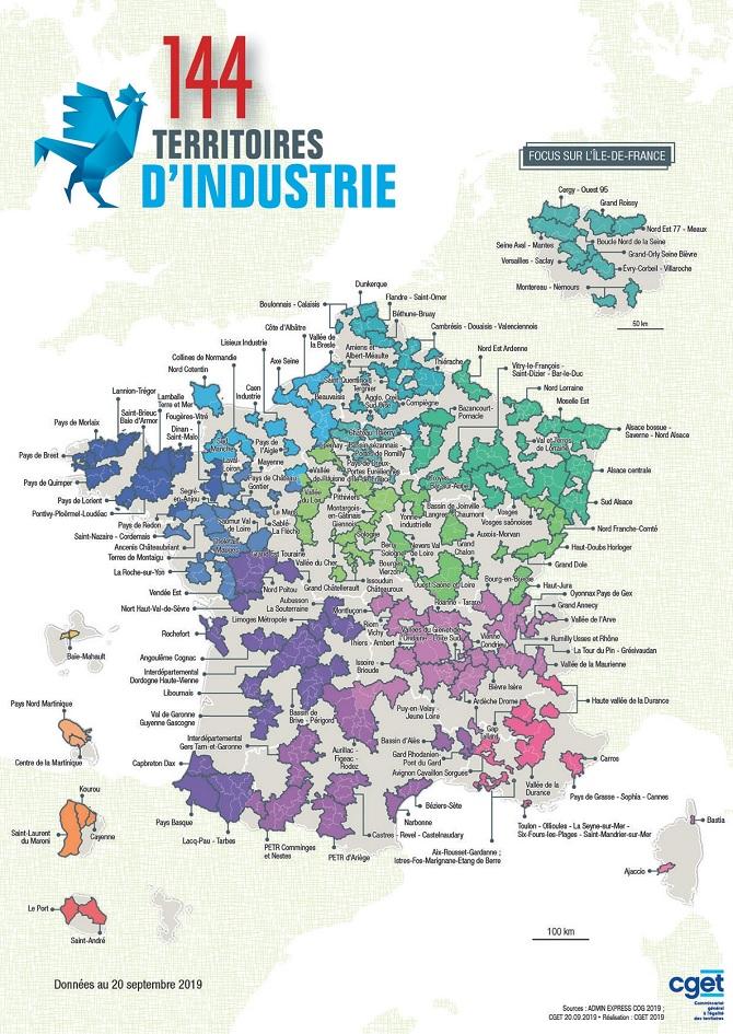 Carte des 144 Territoires d'industrie en septembre 2019