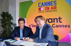 David Lisnard, maire de Cannes et Eric Léandri, PDG de Qwant, officialise l'implantation de la start-up dans le quartier Forville